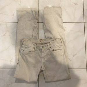 7 For All Mankind Women's Off White Casual Bootcut